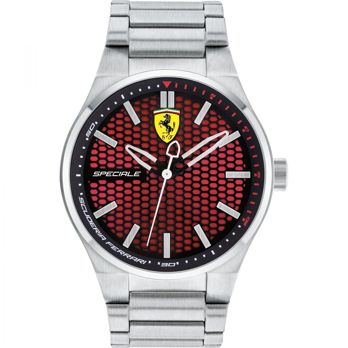 chronograph scuderia strap heritage race s black ebay red ferrari men itm mens watch