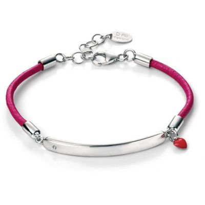 Bijoux Enfant D For Diamond Leather ID Bracelet B4785