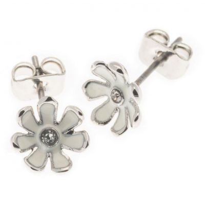 Ladies Fiorelli Silver Plated Crystal Flower Stud Earrings XE1460