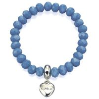 Ladies Fiorelli Silver Plated Stretch Blue Bead Bracelet XB1483