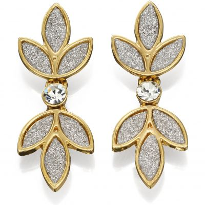 Ladies Fiorelli Gold Plated Glitter Flower Earrings E5163