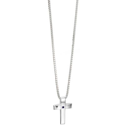Mens Fred Bennett Sterling Silver Sapphire Set Cross Necklace P4130