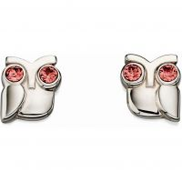 Ladies Orla Kiely Sterling Silver Crystal Owl Earrings E5223