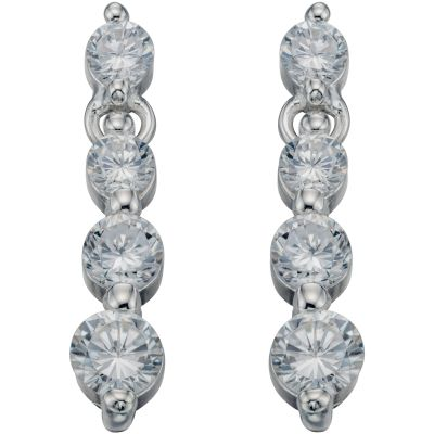 Ladies Beginnings Sterling Silver Cubic Zirconia Round 3 Stone Earrings E2028C