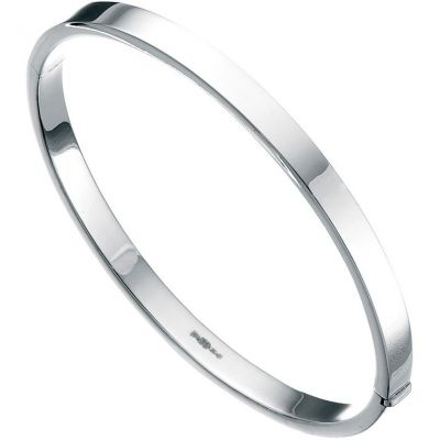 Ladies Beginnings Sterling Silver Square Cut 5mm Bangle B260