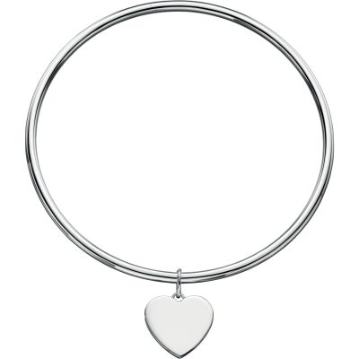 Ladies Beginnings Sterling Silver Heart Tag Bangle B4595