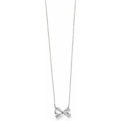 Ladies Elements Sterling Silver Cubic Zirconia Pave Bow Necklace N3606C