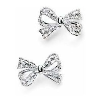 Ladies Elements Sterling Silver Cubic Zirconia Pave Bow Earrings E4692C