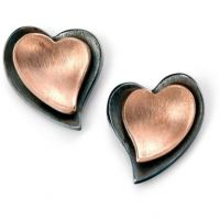 Ladies Elements Sterling Silver Layered Heart Earrings E5109