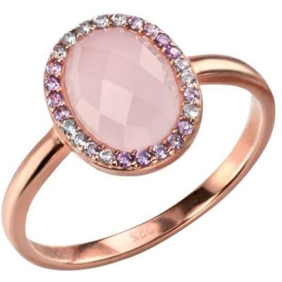 Damen Elements Rose Quartz and Cubic Zirconia Ring Size N Sterling-Silber R3422P-54