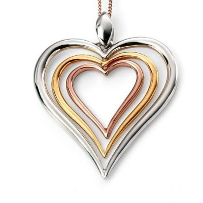 Damen Elements Open Heart Anhänger Sterling-Silber P4194