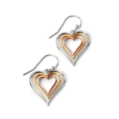 Ladies Elements Sterling Silver Open Heart Earrings E4962