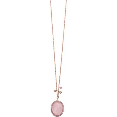 Bijoux Femme Elements Rose Quartz and Cubic Zirconia Collier N3916P