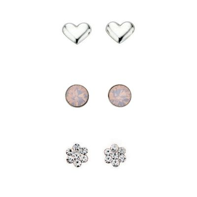 Ladies Beginnings Sterling Silver Set of 3 Stud Earrings WS-SET3