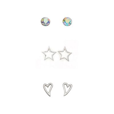 Ladies Beginnings Sterling Silver Set of 3 Stud Earrings WS-SET4