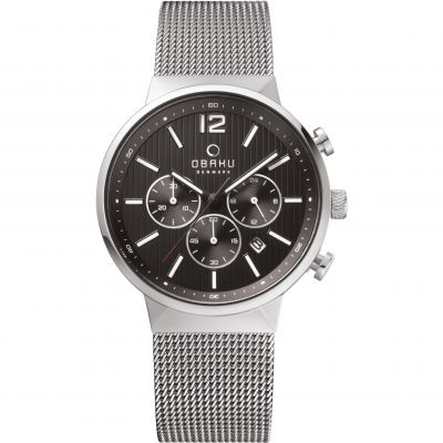 Mens Obaku Storm Chronograph Watch V180GCCBMC