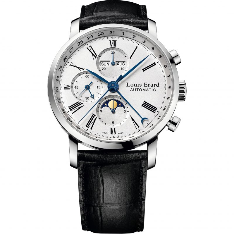 Mens Louis Erard Excellence Moonphase Automatic Chronograph Watch 80231AA01.BDC51