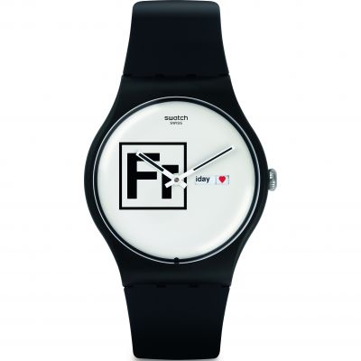 Swatch Originals New Gent Fritz Unisexuhr in Schwarz SUOB722