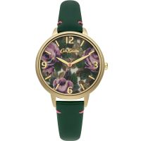 Cath Kidston Oxford Rose Bottle Green Leather Strap WATCH
