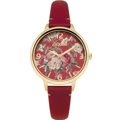 Zegarek damski Cath Kidston Garden Rose Red Leather Strap CKL001RG