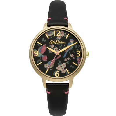 Ladies Cath Kidston British Birds Black Leather Strap Watch CKL001BG