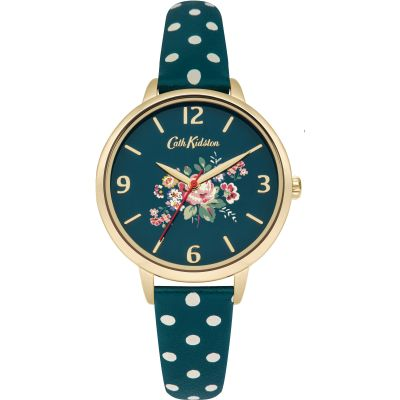 Ladies Cath Kidston Briar Rose Green Polka Dot Strap Watch CKL004NG