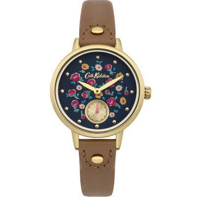 Ladies Cath Kidston Little Flower Buds Tan Leather Strap sub Dial Watch CKL005TG