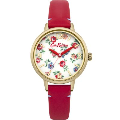 Ladies Cath Kidston Linen Sprig Red Leather Strap Watch CKL006RG