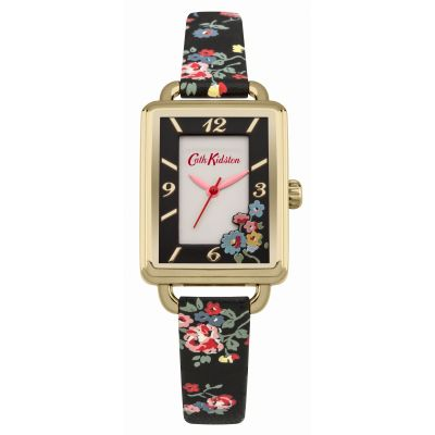 Ladies Cath Kidston Spray Flowers Black Strap Watch CKL019BG