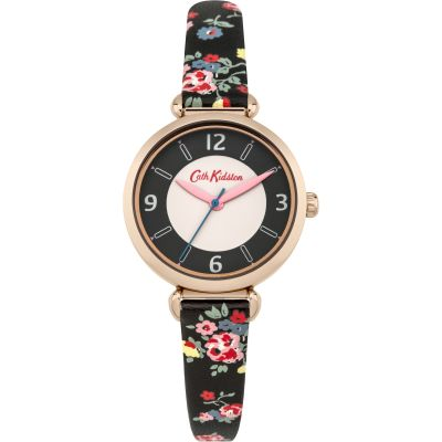Ladies Cath Kidston Kew Sprig Charcoal Strap T-Bar Watch CKL020BRG