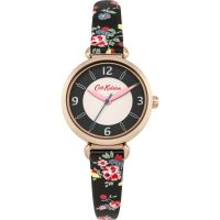 Cath Kidston Kew Sprig Charcoal Strap T-Bar WATCH