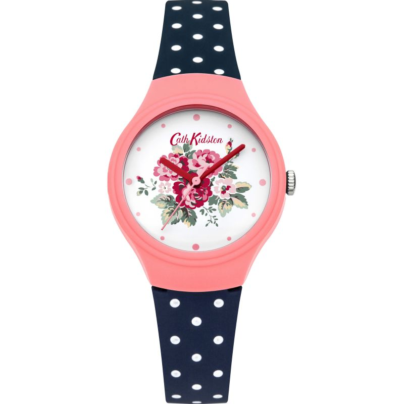 Ladies Cath Kidston Spray Flowers Navy Polka Dot Silicone Strap Watch CKL024PU