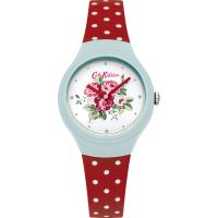 Cath Kidston Spray Flowers Red Polka Dot Silicone Strap WATCH