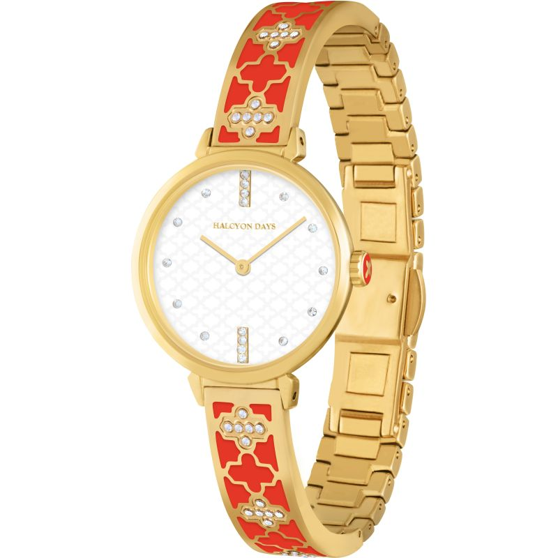 Agama Sparkle Red & Gold Bangle Watch