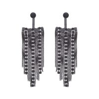 Ladies Lipsy Black Ion-plated Steel Drape Jet Earrings 8692