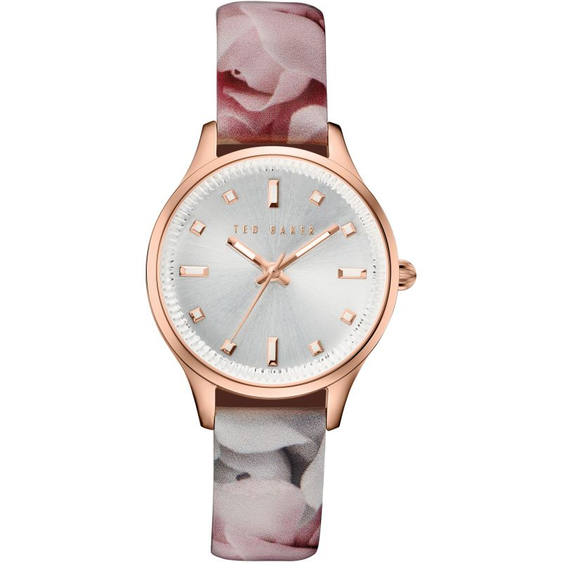 Ladies Ted Baker Rose Print Patent Leather Strap Watch