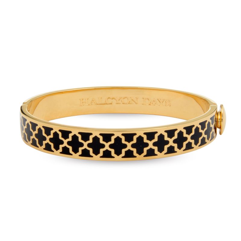 Image of 1cm Agama Black & Gold Hinged Bangle