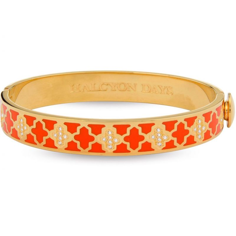 Image of 1cm Agama Orange & Gold Hinged Bangle
