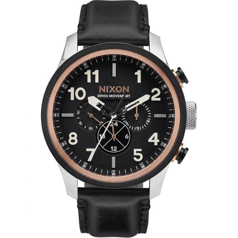 Mens Nixon The Safari Dual Time Leather Chronograph Watch