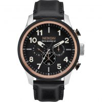 Mens Nixon The Safari Dual Time Leather Chronograph Watch