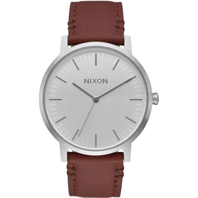 Nixon The Porter Leather Herrenuhr in Braun A1058-1113
