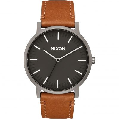 Nixon The Porter Leather Unisexklocka Brun A1058-2494