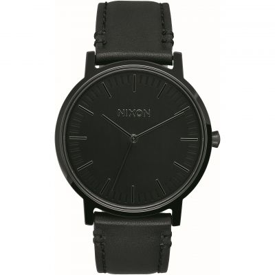 Nixon The Porter Leather Unisex horloge Zwart A1058-001