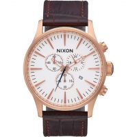 Mens Nixon The Sentry Chrono Leather Chronograph Watch A405-2459