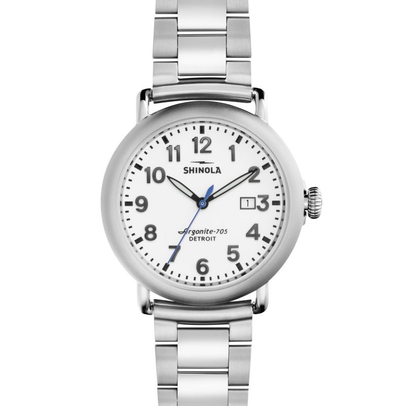 Mens Shinola Runwell 41mm Stainless Steel 3 Link Watch S0120001110