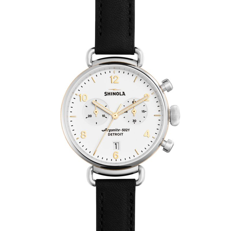 Shinola Canfield Chrono 38mm Black Leather Strap Watch S0120001930