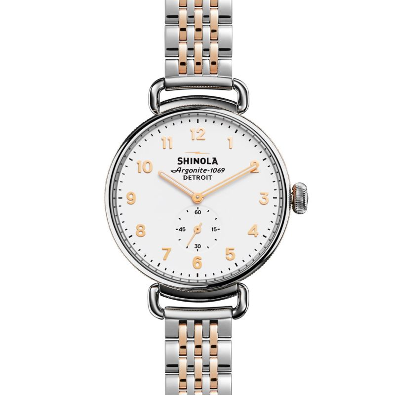 Unisex Shinola Canfield 38mm Sub Second Rose Gold 7 Link Chronograph Watch S0120004468