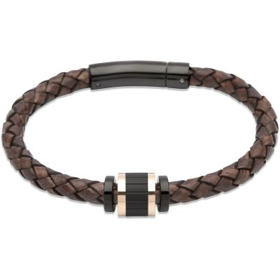 Mens Unique & Co Black Ion-plated Steel Bracelet B324ADB/21CM