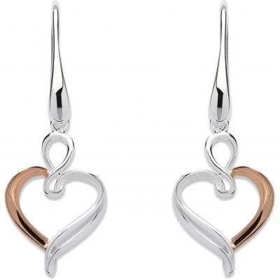 Ladies Unique & Co Sterling Silver Heart Earrings ME-573