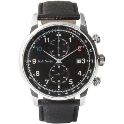 Paul Smith Block Leather Strap Herenchronograaf Zwart P10140